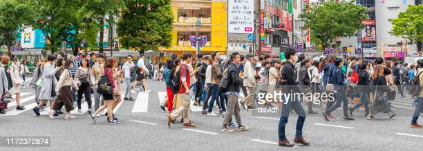crowd of people crossing the road at the shibuya intersection - esplosione demografica foto e immagini stock
