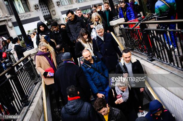 A crowd of people descend into Oxford Circus station in London England on February 9 2019 February 15 sees the release of the first monthly retail...