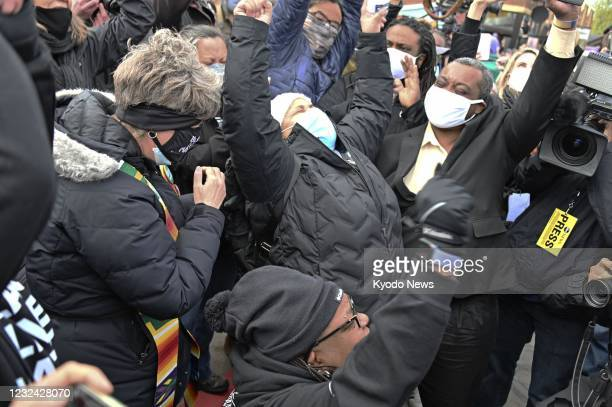 Crowd of people erupt in cheers in Minneapolis, the United States, on April 20 after former Minneapolis police officer Derek Chauvin was found guilty...