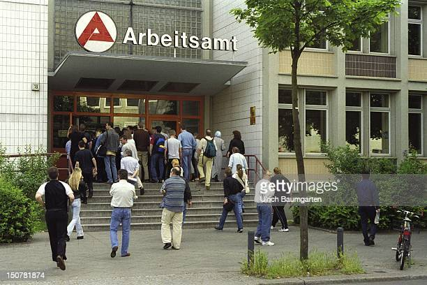Crowd of people in front of an employment office in Berlin