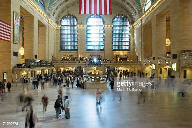 a crowd of people in grand central station, new york city, usa - grand central station stock photos and pictures