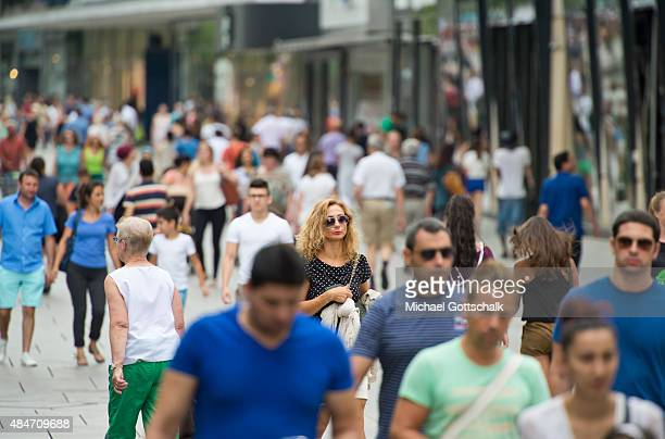 Crowd of People in pedestrian zone Zeil on August 14 2015 in Frankfurt Germany