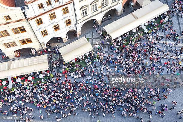 Multidão de pessoas, Old Town Square, Prague, Czech Republic