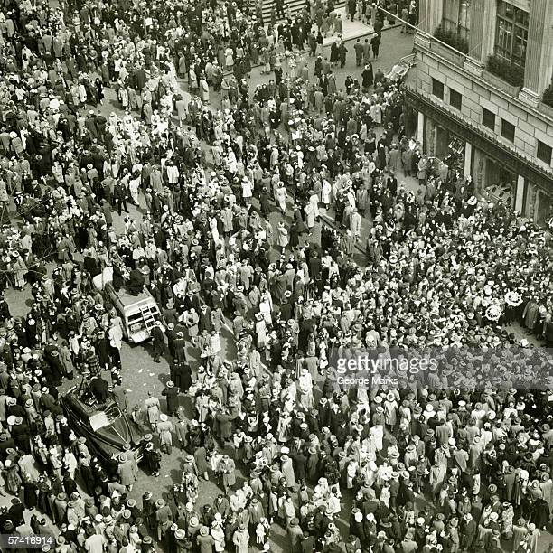 Crowd of people on street, news media broadcasting, (B&W), (Aerial view)