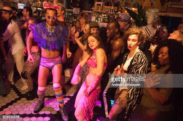 A crowd of people partying at the House of Yes a nightclub dance for a music video on February 8 2018 in the Bushwick neighborhood of Brooklyn New...