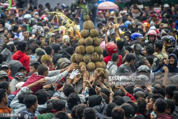 TOPSHOT A crowd of people reach out to claim free durians hailed as the king of fruits by fans during the 'Kenduren' festival in Jombang East Java on...
