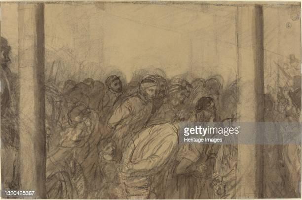 Crowd of People Seen between Two Columns [verso]. Artist Alphonse Legros.