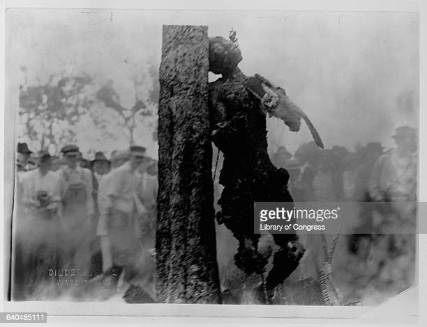 Crowd of people stands to watch the lynching by burning of Jesse Washington whose charred corpse leans chained to the trunk of a tree. Waco, Texas.