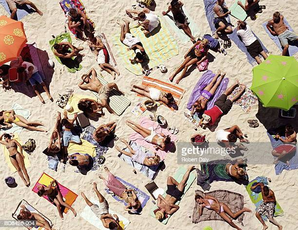 Crowd of people sunbathing on beach, over head view