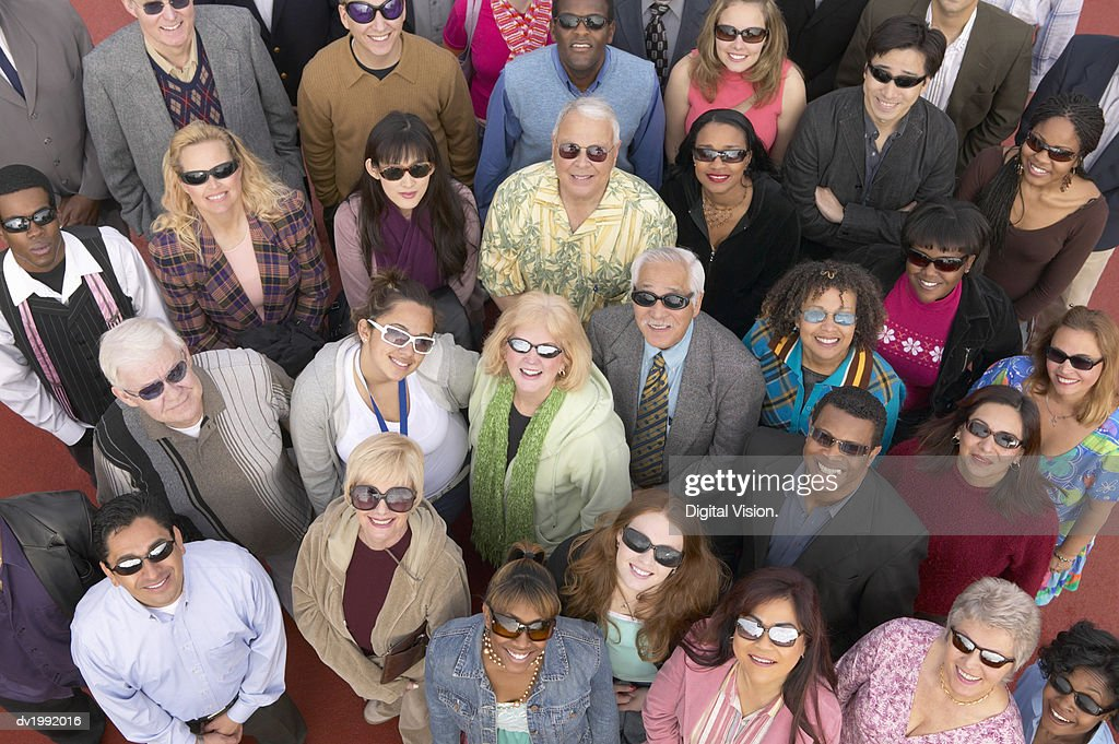 Crowd of People Wearing Sunglasses : Stock Photo