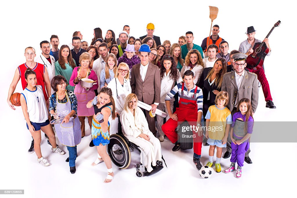 Crowd of people with different occupations. : Stock Photo
