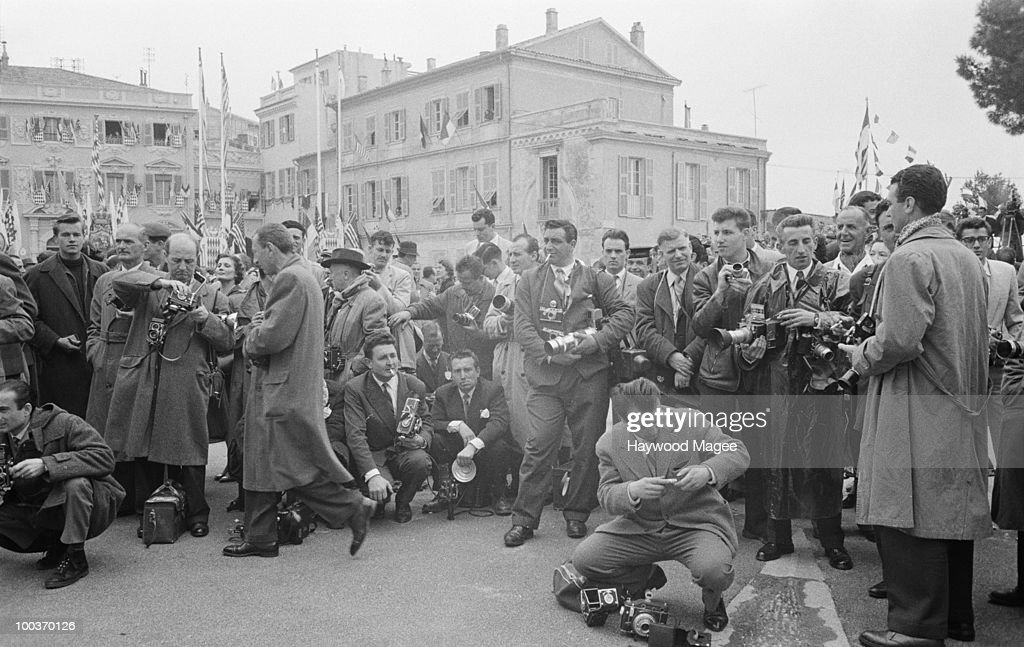 A crowd of photographers in Monaco for the wedding of actress Grace Kelly to Prince Rainier III of Monaco, 18th April 1956. Original Publication : Picture Post - 8336 - The Hour Of Marriage - pub. 28th April 1956
