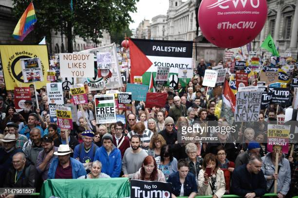A crowd of protesters during a demonstration on Whitehall during the second day of US President Donald Trump's State Visit on June 4 2019 in London...