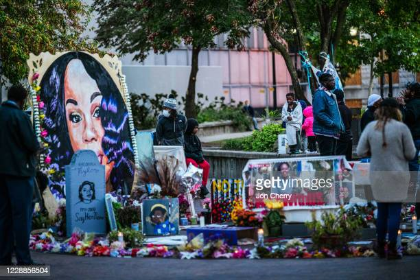 Crowd of protesters gather near the Breonna Taylor memorial in Jefferson Square Park on October 2, 2020 in Louisville, Kentucky. Kentucky Attorney...
