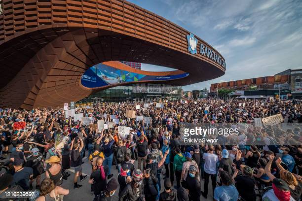 Crowd of protesters gathering outside the Barclays Center. Hundreds of protesters made their way toward Barclays Center in Brooklyn to demonstrate...