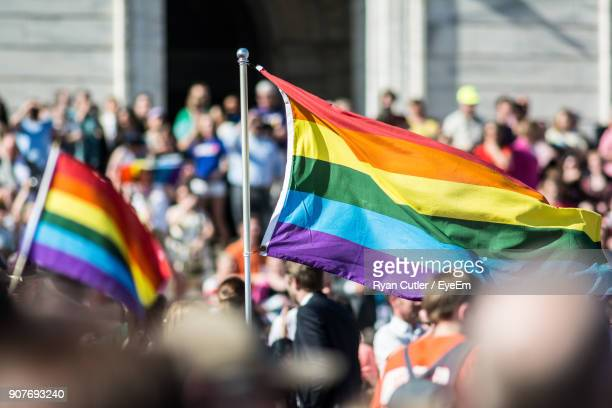 crowd of rainbow flags amidst people - march stock-fotos und bilder