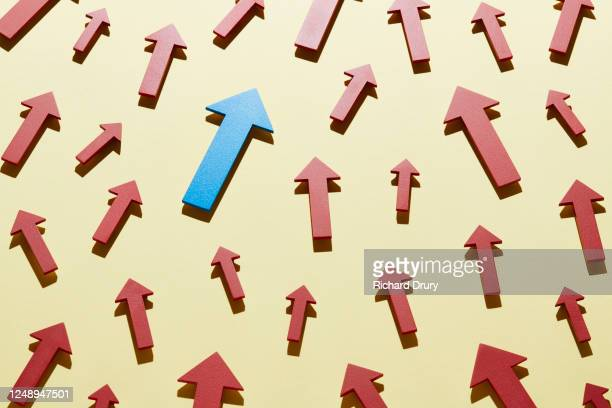 a crowd of red arrows and one blue arrow all moving up together - richard drury stock pictures, royalty-free photos & images