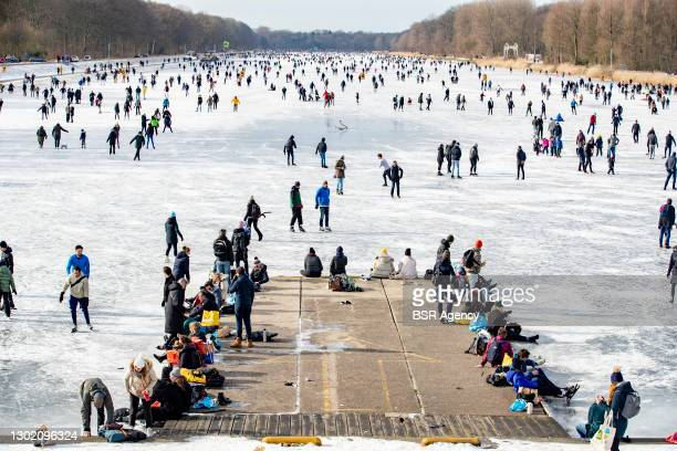 Crowd of skaters is seen on the Bosbaan on February 14, 2021 in Amsterdam, Netherlands. Hundreds of skaters came out to the Bosbaan, but overall...
