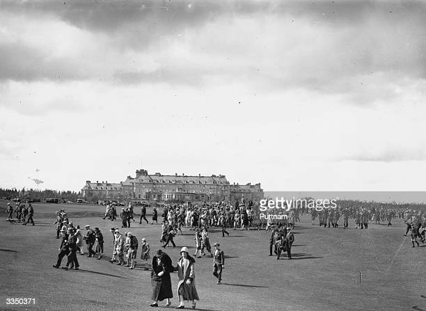 Crowd of spectators on the golf course at Gleneagles during the championships. The hotel has four golf courses including the famous King's course and...