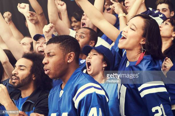 crowd of sports fans cheering - 応援 ストックフォトと画像