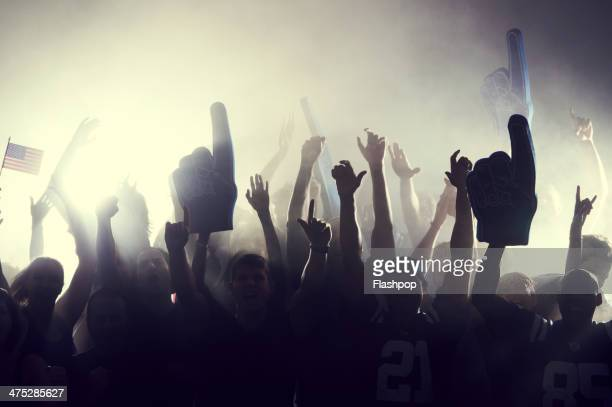 crowd of sports fans cheering - vreugde stockfoto's en -beelden
