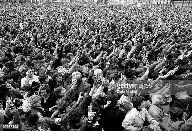 A crowd of supporters of Democratic Party leader Sali Berisha enjoy a free speech in central Tirana following the fall of the Communist regime in...