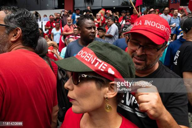 Crowd of supporters of former President Luiz Inacio Lula da Silva gathered while waiting for his arrival In front of the ABC Metalworkers Union in...