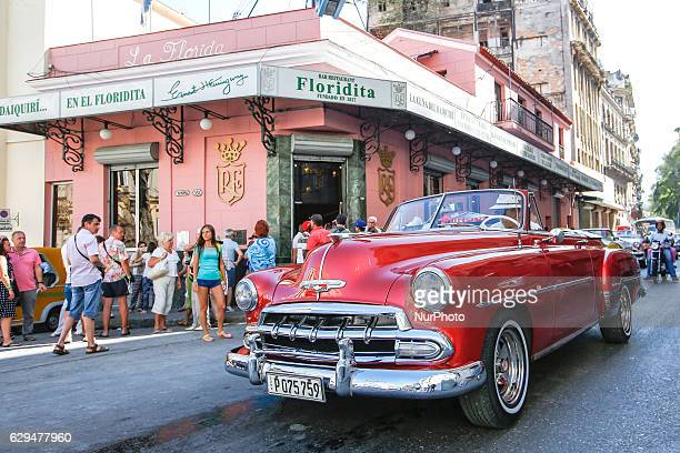 A crowd of tourists seen outside of Floridita a historic fish restaurant and cocktail bar famous for its daiquiris and for having been one of the...