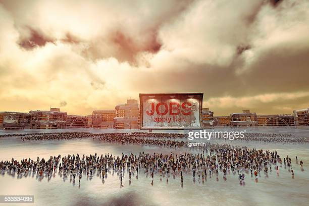 Crowd of unemployed people looking for a job