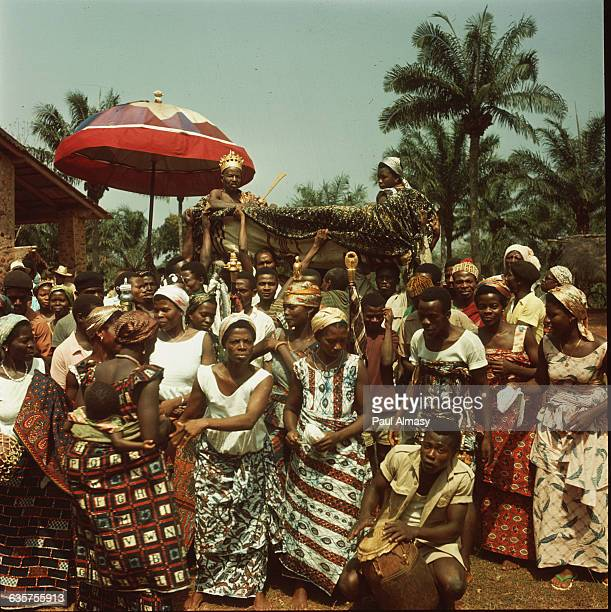 A crowd of villagers and their chief celebrating independence at a village near the town of Palime Togo