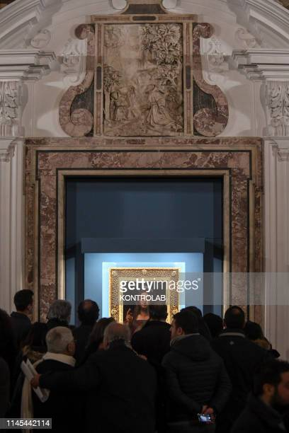 Crowd of visitors for the exhibition in the diocesan museum of Naples of the Salvator Mundi an alleged painting by Leonardo Da Vinci found in Naples...