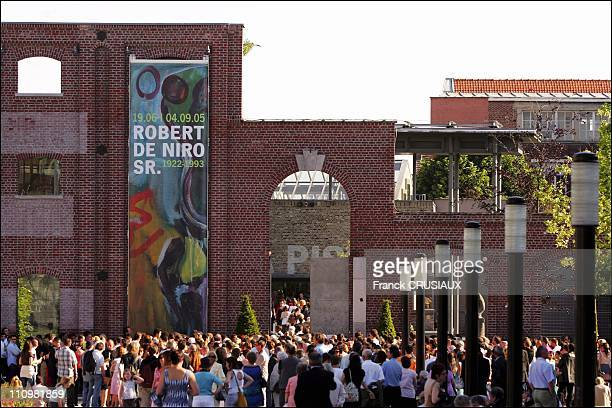 A crowd of visitors outside La Piscine in Roubaix at the opening of an exhibition of paintings by Robert De Niro Sr father of US actor Robert De Niro...
