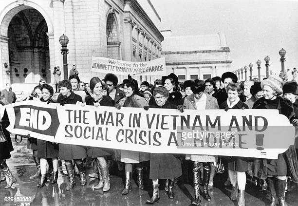 Crowd of Women including Jeannette Rankin First Woman Elected to Congress Protesting Vietnam War outside of Union Station on their Way to Capitol...