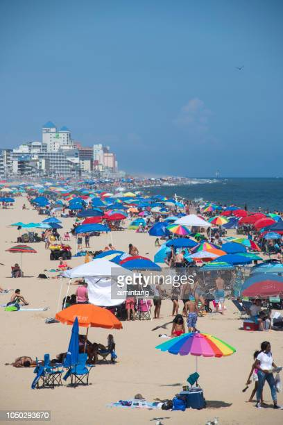 crowd on beach at ocean city - ocean city maryland stock pictures, royalty-free photos & images