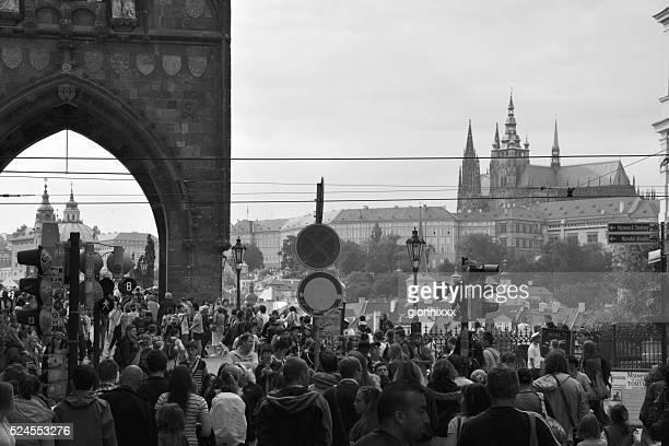 Crowd on Charles Bridge, Prague, Czech Republic
