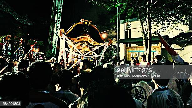 Crowd On Street At Night During Mikoshi