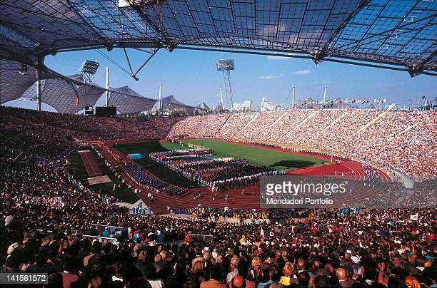 Crowd on terraces and the inside of the stadium during the opening ceremony of the XX Olympiad Munich Olympic Games 1972