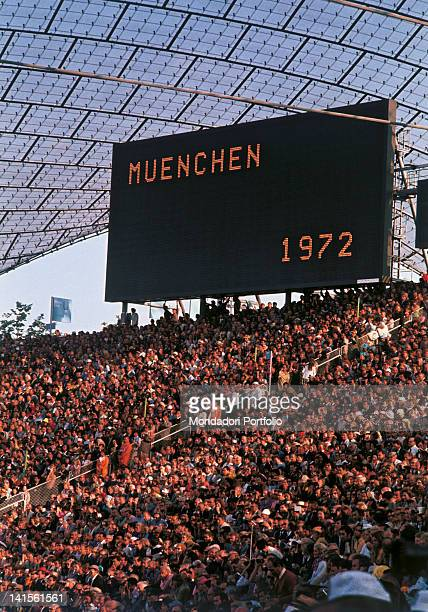 Crowd on terraces at the opening ceremony of the XX Olympiad Munich 1972