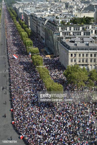Crowd on the Champs Elysees before the French Football Team Parade on the Champs Elysees after winning the World Cup 2018 on July 16 2018 at the...