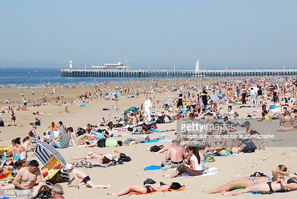 Crowd on the Ostend beach in May