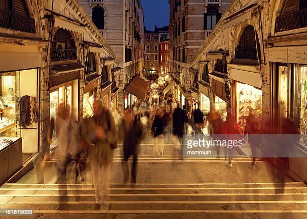crowd on the Rialto Bridge, Venice