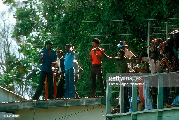 Crowd on the roof West Indies v Australia 2nd Test Bridgetown March 197778
