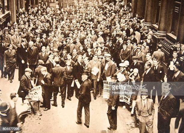 Crowd outside London Stock Exchange after fall of the Hatry Group 1929 On 20 September 1929 trading in shares in British financier Clarence Charles...