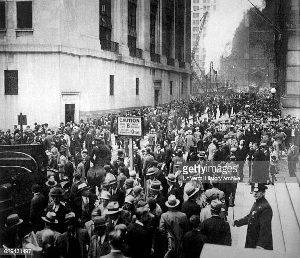 Crowd Outside Stock Exchange Building on Wall Street, New York City, USA, Wall Street Crash of October 24, 1929.