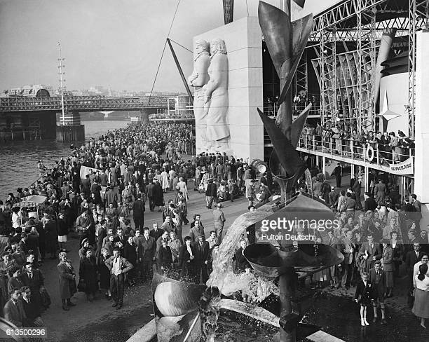 A crowd outside the South Bank Center Exhibition in London during the Festival of Britain in 1951