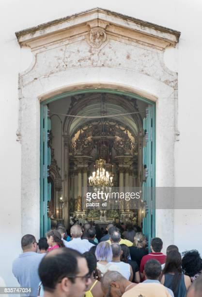 crowd people church mass bonfim salvador bahia - pessoas stock pictures, royalty-free photos & images