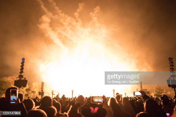 crowd photographing firework display during event in city - celebratory event photos et images de collection