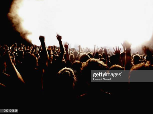 crowd raising arms and having fun at an illuminated music concert at night with a lot of copy space - laurent sauvel photos et images de collection
