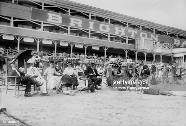 Crowd Relaxing at Beach Brighton Beach New York USA Bain News Service 1915