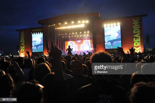 Crowd scene at the Main Stage during Day 3 of the Reading Festival at Richfield Avenue on August 28, 2016 in Reading, England.